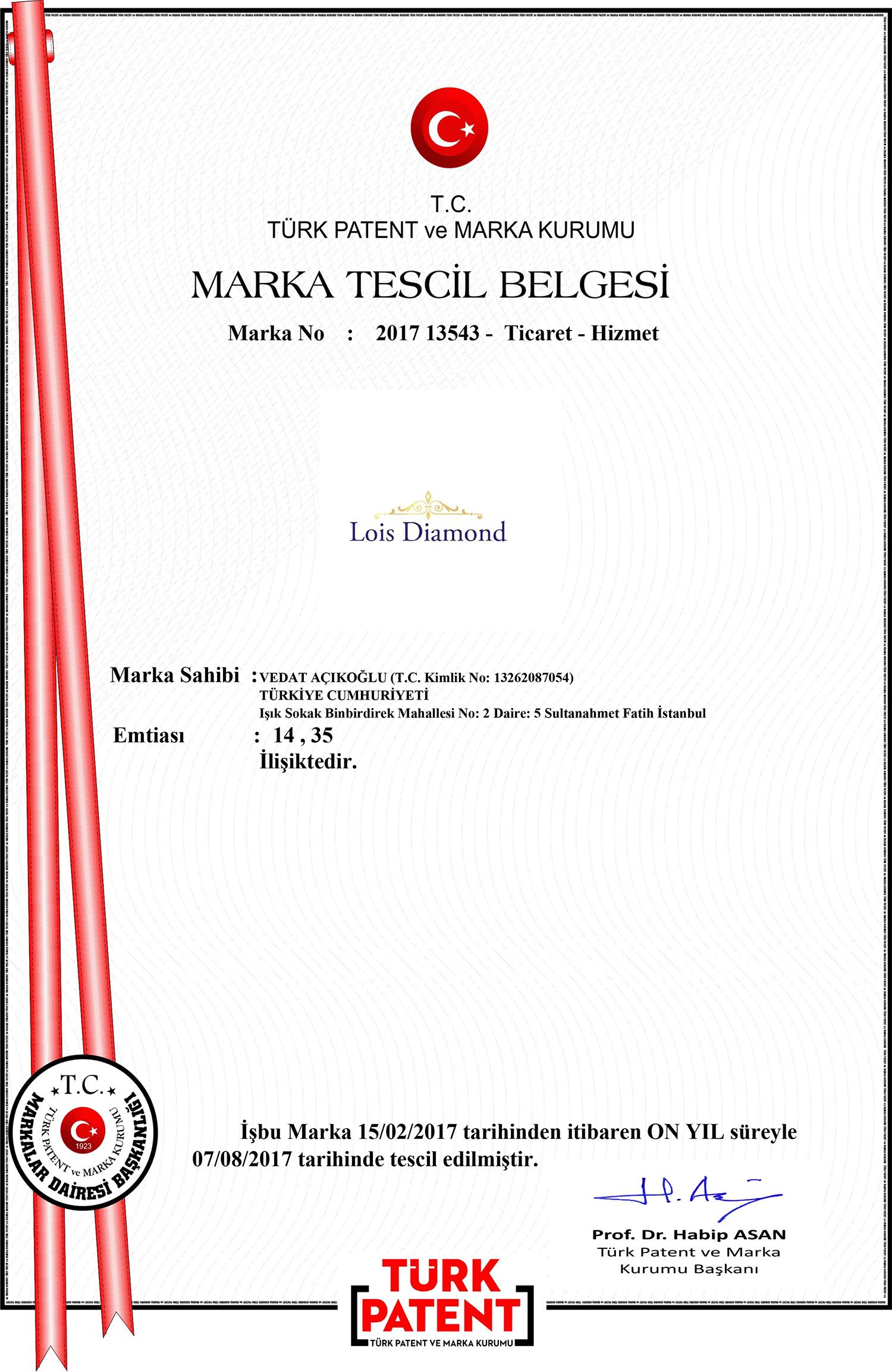 Lois Diamond - Marka Tescil Belgesi